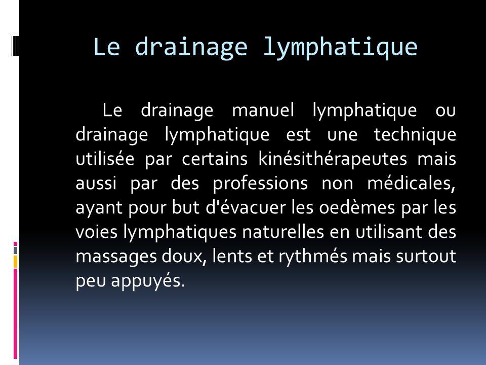 Le drainage lymphatique Le drainage manuel lymphatique ou drainage lymphatique est une technique utilisée par certains kinésithérapeutes mais aussi pa