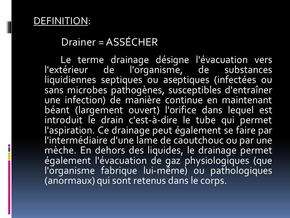 DEFINITION: Le terme drainage désigne l'évacuation vers l'extérieur de l'organisme, de substances liquidiennes septiques ou aseptiques (infectées ou s