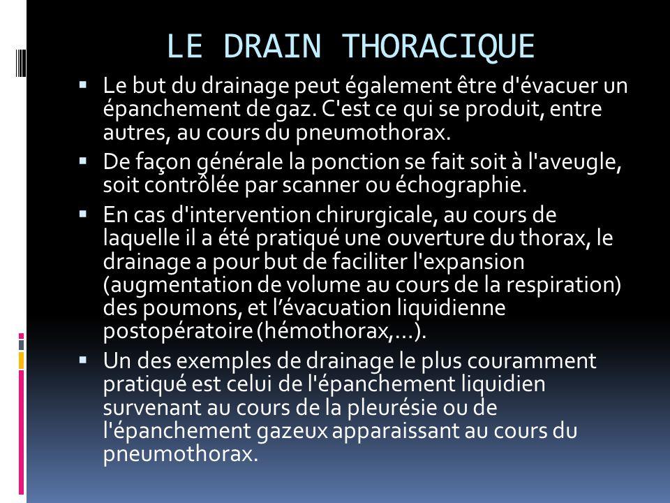 LE DRAIN THORACIQUE  Le but du drainage peut également être d'évacuer un épanchement de gaz. C'est ce qui se produit, entre autres, au cours du pneum