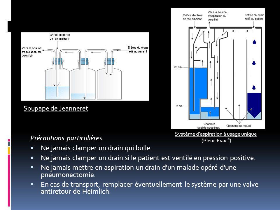 Précautions particulières  Ne jamais clamper un drain qui bulle.  Ne jamais clamper un drain si le patient est ventilé en pression positive.  Ne ja