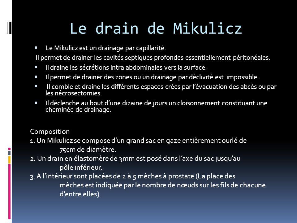 Le drain de Mikulicz  Le Mikulicz est un drainage par capillarité. Il permet de drainer les cavités septiques profondes essentiellement péritonéales.