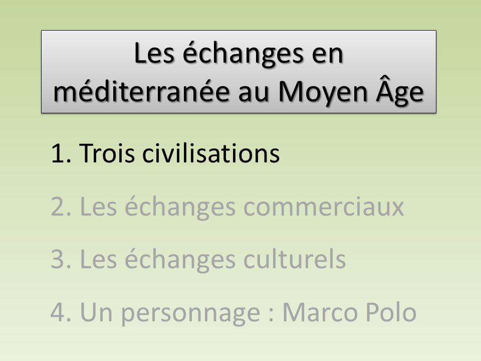 1. Trois civilisations 2. Les échanges commerciaux 3. Les échanges culturels 4. Un personnage : Marco Polo