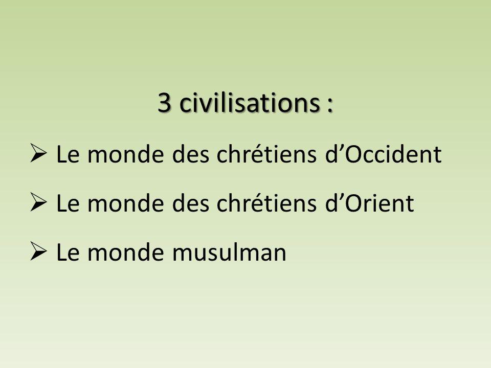  Le monde des chrétiens d'Occident  Le monde des chrétiens d'Orient  Le monde musulman