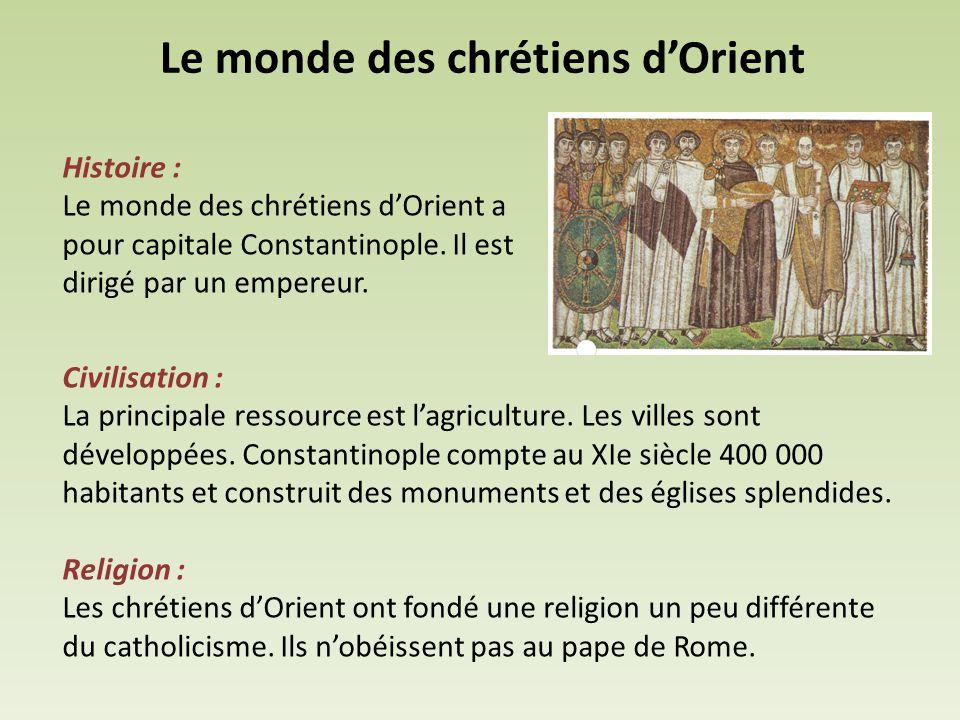 Le monde des chrétiens d'Orient Histoire : Le monde des chrétiens d'Orient a pour capitale Constantinople. Il est dirigé par un empereur. Civilisation