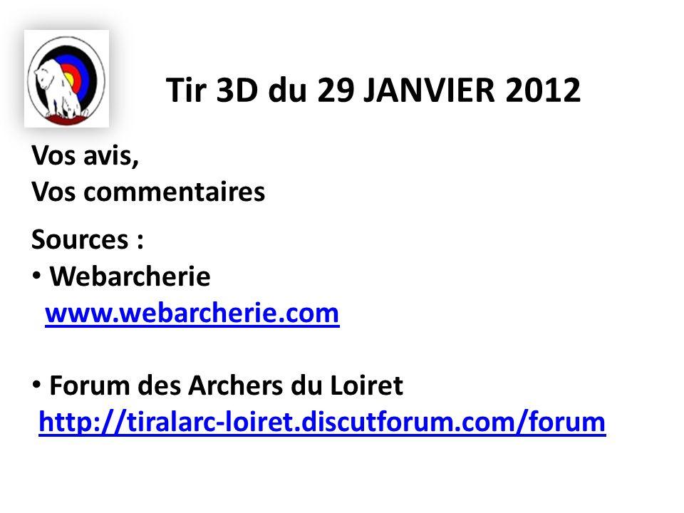 Tir 3D du 29 JANVIER 2012 Vos avis, Vos commentaires Sources : Webarcherie www.webarcherie.comwww.webarcherie.com Forum des Archers du Loiret http://tiralarc-loiret.discutforum.com/forumhttp://tiralarc-loiret.discutforum.com/forum
