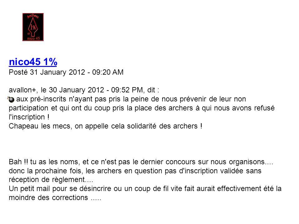GreenArrow Posté 30 January 2012 - 11:18 PM Sympa, beaucoup de pas de tir nouveau. Le vent et le froid par contre c'est pas nouveau D'avoir oublié ma