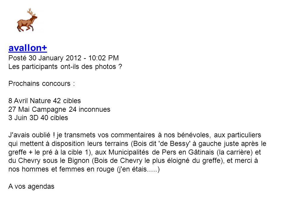 avallon+ Posté 30 January 2012 - 09:52 PM Merci de vos commentaires.