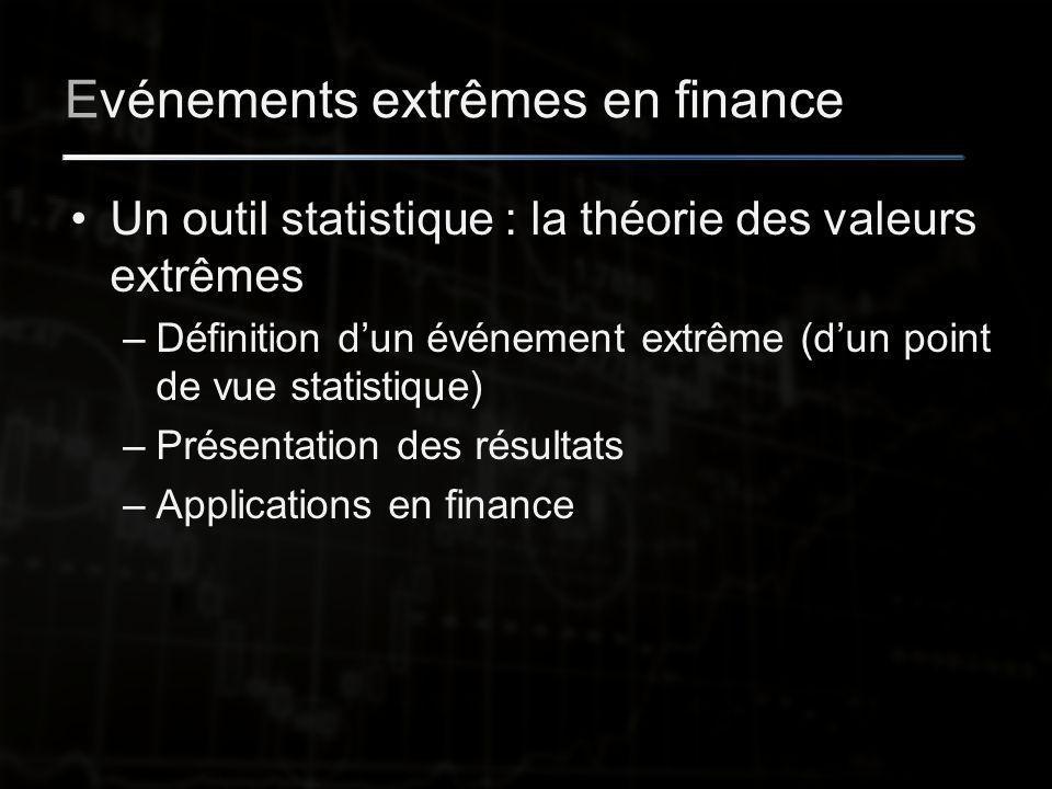 Evénements extrêmes en finance Un outil statistique : la théorie des valeurs extrêmes –Définition d'un événement extrême (d'un point de vue statistique) –Présentation des résultats –Applications en finance