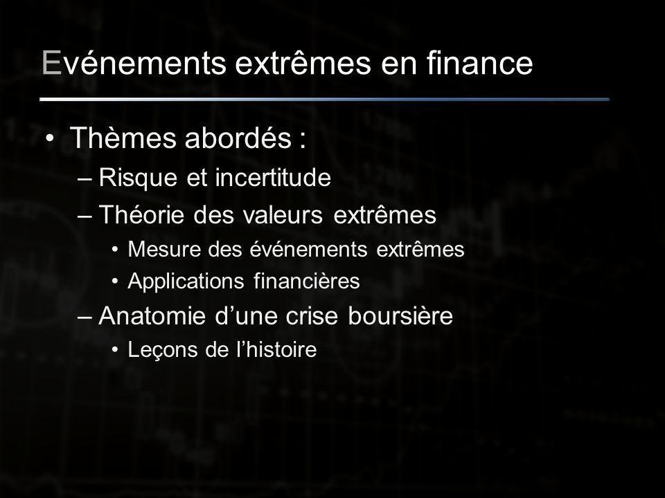 Evénements extrêmes en finance Thèmes abordés : –Risque et incertitude –Théorie des valeurs extrêmes Mesure des événements extrêmes Applications financières –Anatomie d'une crise boursière Leçons de l'histoire