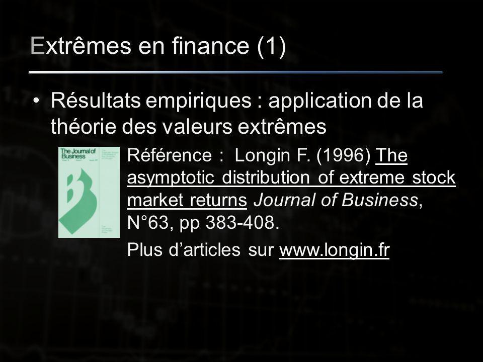 Extrêmes en finance (1) Résultats empiriques : application de la théorie des valeurs extrêmes Référence : Longin F.