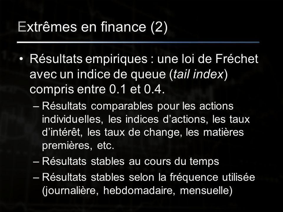 Extrêmes en finance (2) Résultats empiriques : une loi de Fréchet avec un indice de queue (tail index) compris entre 0.1 et 0.4.