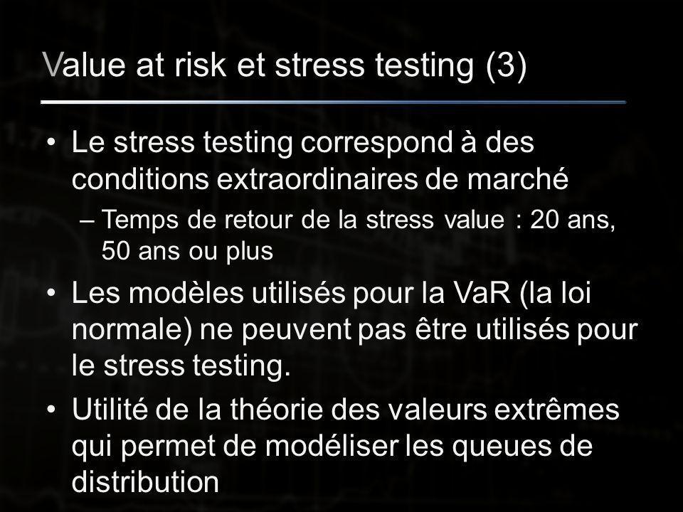 Value at risk et stress testing (3) Le stress testing correspond à des conditions extraordinaires de marché –Temps de retour de la stress value : 20 ans, 50 ans ou plus Les modèles utilisés pour la VaR (la loi normale) ne peuvent pas être utilisés pour le stress testing.