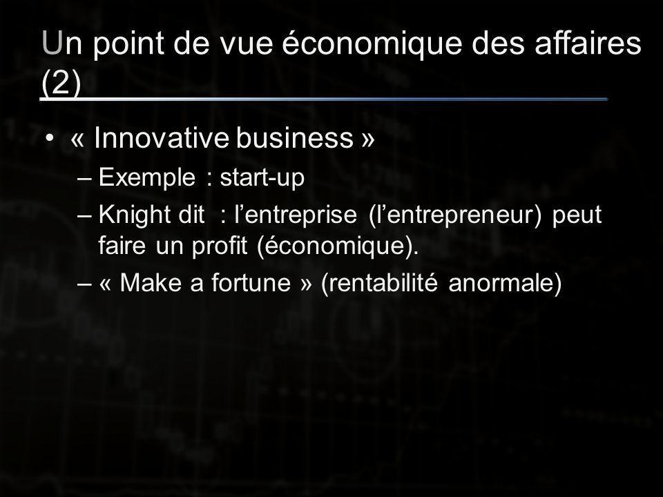 Un point de vue économique des affaires (2) « Innovative business » –Exemple : start-up –Knight dit : l'entreprise (l'entrepreneur) peut faire un profit (économique).