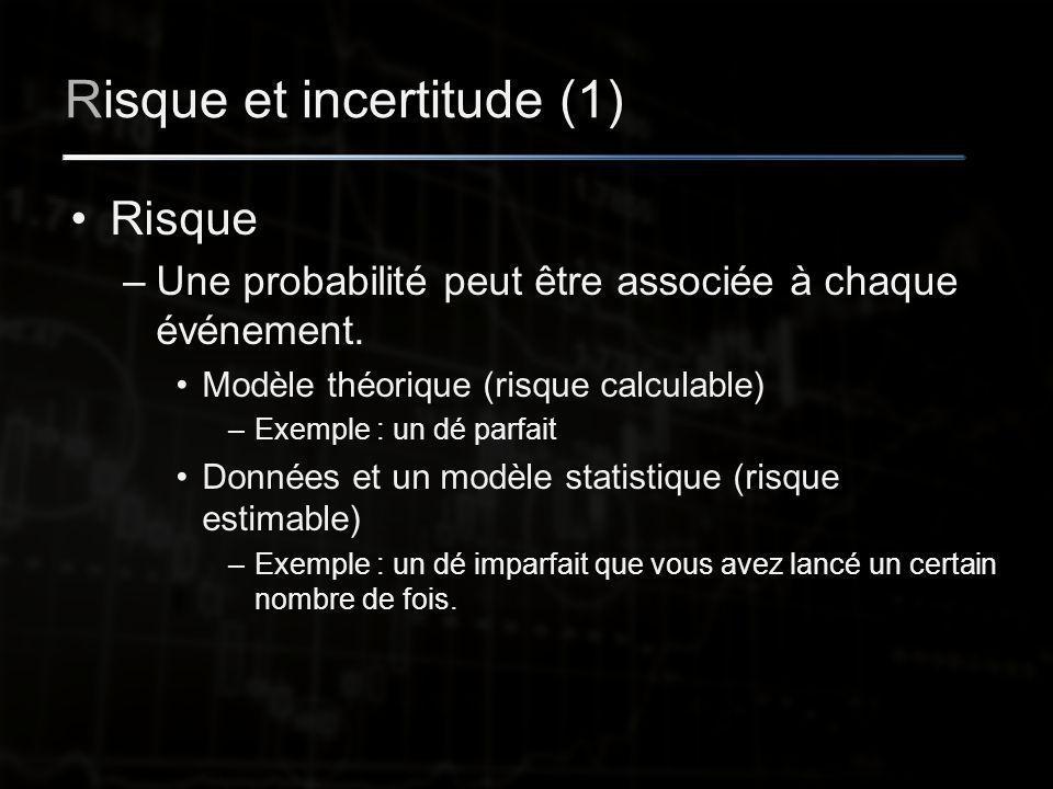 Risque et incertitude (1) Risque –Une probabilité peut être associée à chaque événement.