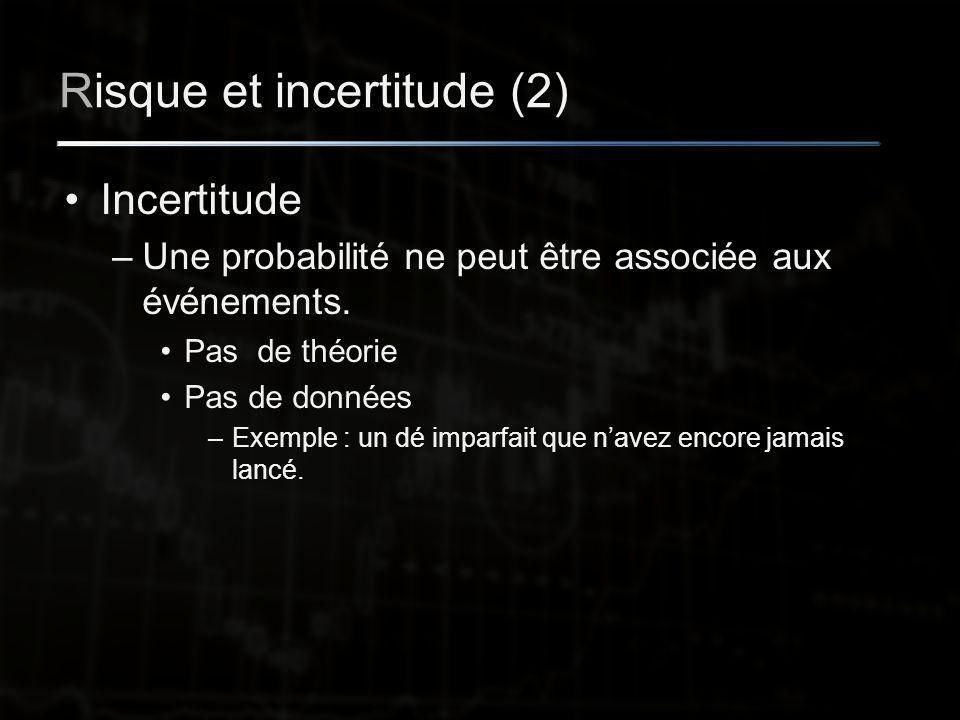 Risque et incertitude (2) Incertitude –Une probabilité ne peut être associée aux événements.