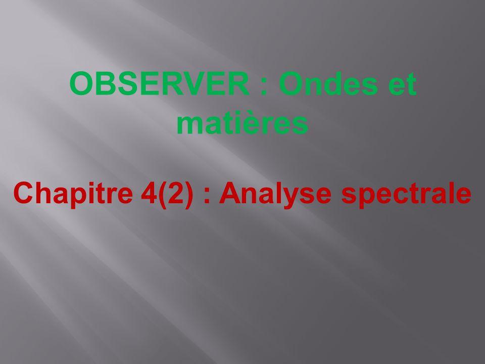 OBSERVER : Ondes et matières Chapitre 4(2) : Analyse spectrale