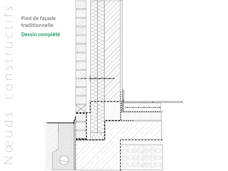 N œ u d s c o n s t r u c t i f s Dessin complété Pied de façade traditionnelle