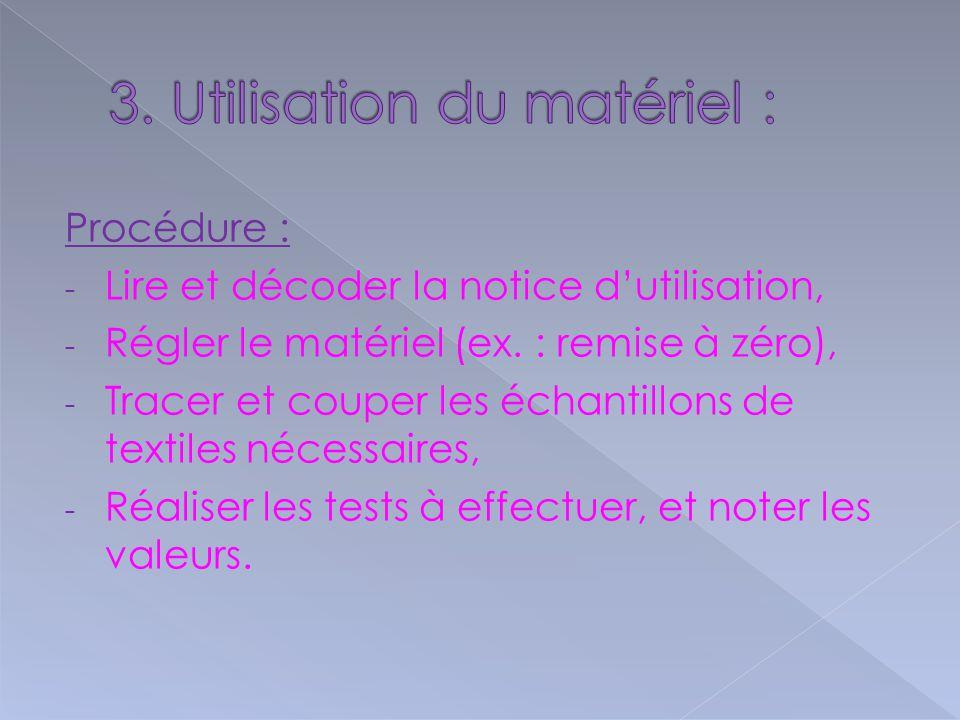 Procédure : -L-Lire et décoder la notice d'utilisation, -R-Régler le matériel (ex.