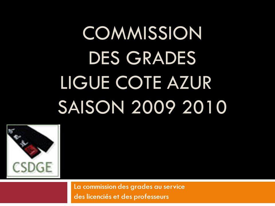 COMMISSION DES GRADES LIGUE COTE AZUR SAISON 2009 2010 La commission des grades au service des licenciés et des professeurs