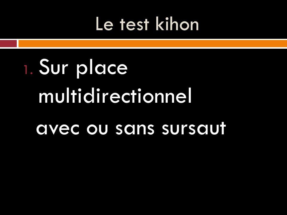 Le test kihon 1. Sur place multidirectionnel avec ou sans sursaut