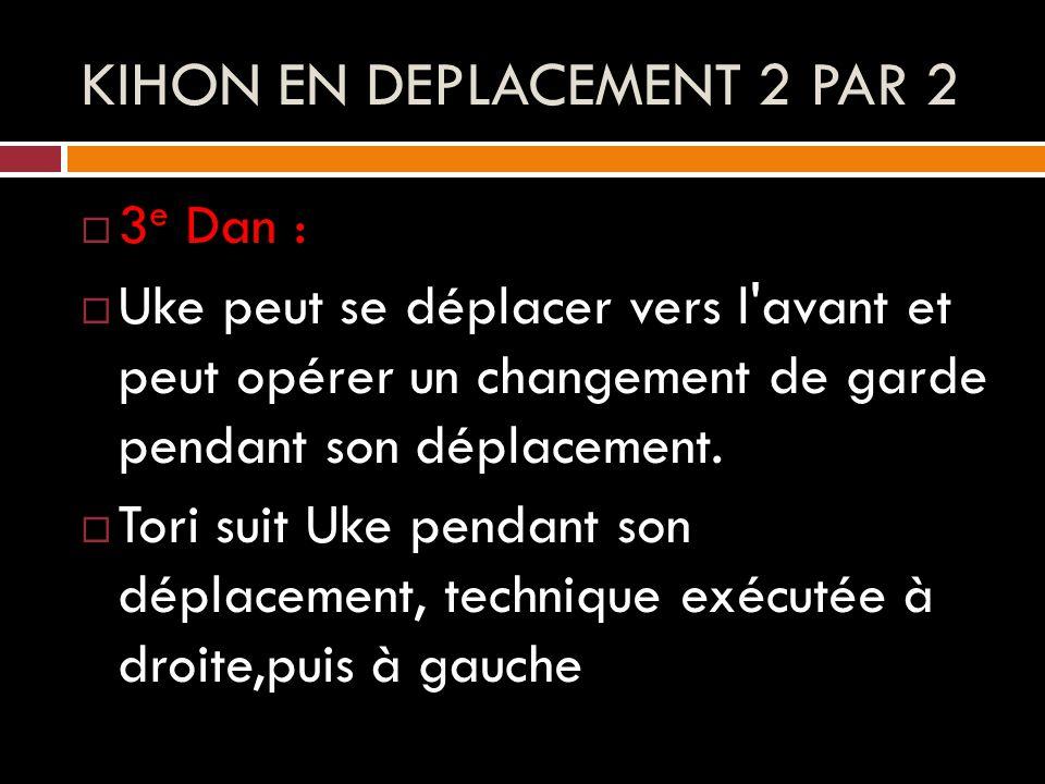 KIHON EN DEPLACEMENT 2 PAR 2  3 e Dan :  Uke peut se déplacer vers l avant et peut opérer un changement de garde pendant son déplacement.