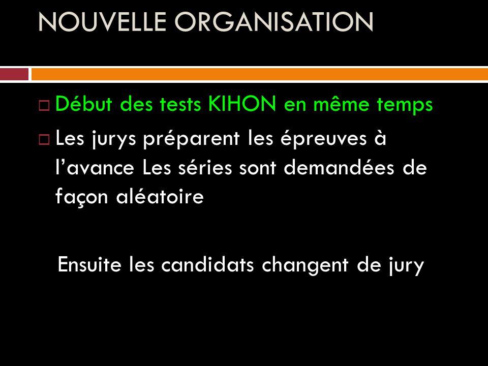 NOUVELLE ORGANISATION  Début des tests KIHON en même temps  Les jurys préparent les épreuves à l'avance Les séries sont demandées de façon aléatoire Ensuite les candidats changent de jury