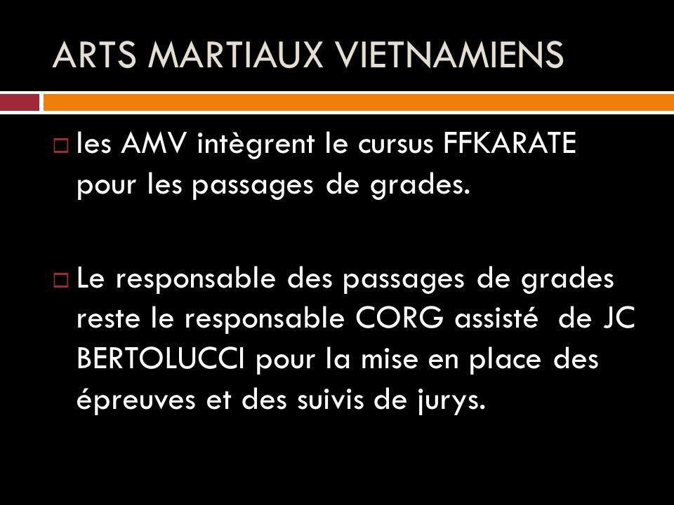 ARTS MARTIAUX VIETNAMIENS  les AMV intègrent le cursus FFKARATE pour les passages de grades.
