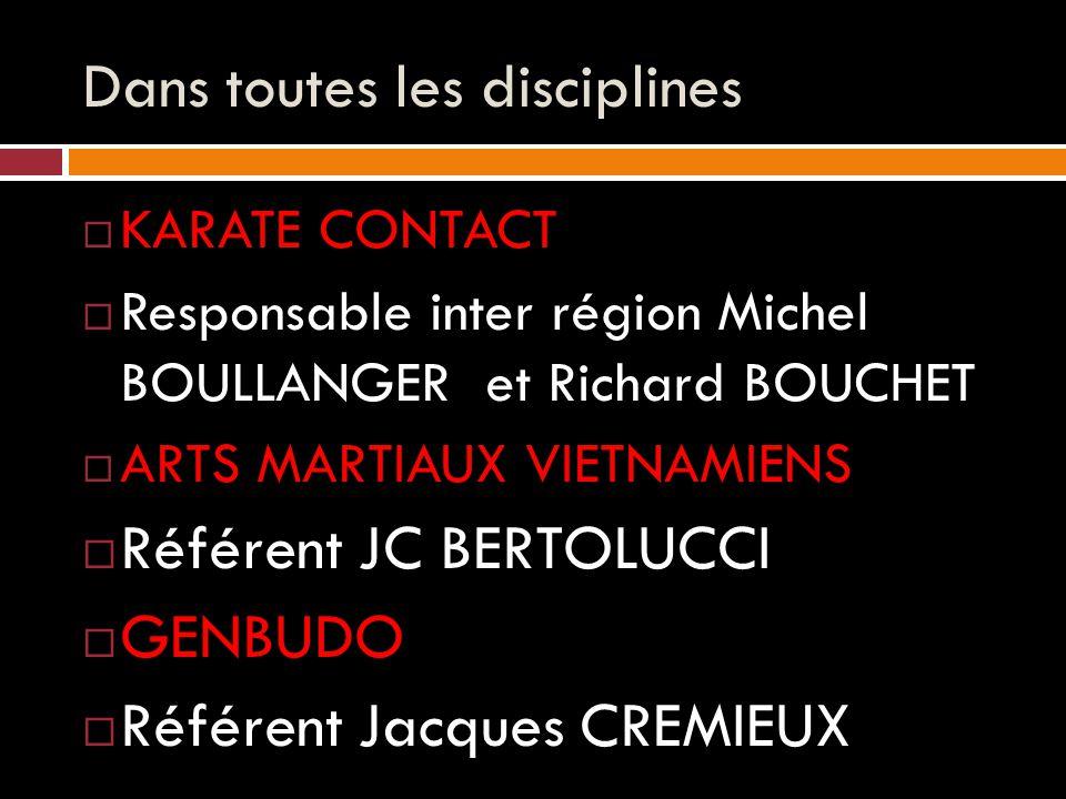 Dans toutes les disciplines  KARATE CONTACT  Responsable inter région Michel BOULLANGER et Richard BOUCHET  ARTS MARTIAUX VIETNAMIENS  Référent JC BERTOLUCCI  GENBUDO  Référent Jacques CREMIEUX