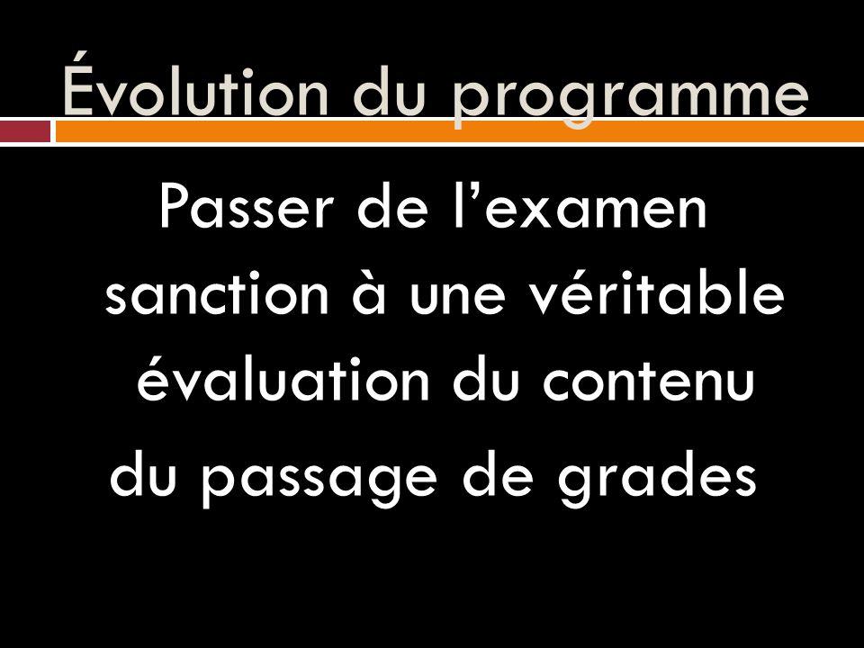 Évolution du programme Passer de l'examen sanction à une véritable évaluation du contenu du passage de grades