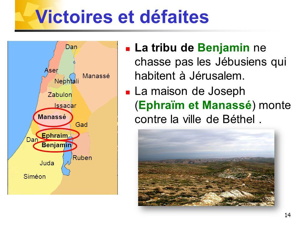 14 Victoires et défaites La tribu de Benjamin ne chasse pas les Jébusiens qui habitent à Jérusalem. La maison de Joseph (Ephraïm et Manassé) monte con