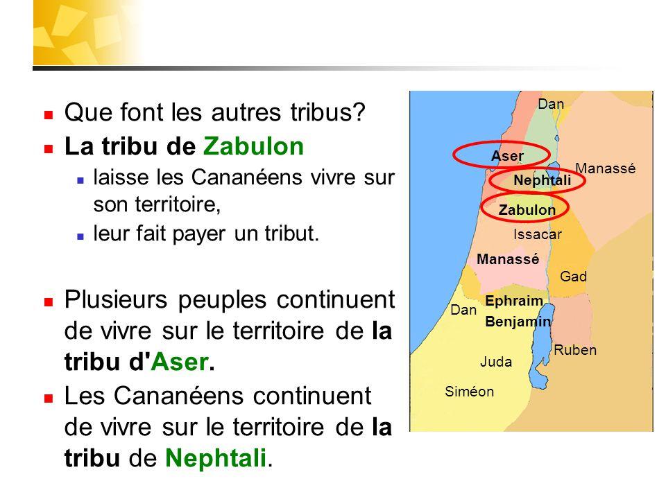 Que font les autres tribus? La tribu de Zabulon laisse les Cananéens vivre sur son territoire, leur fait payer un tribut. Plusieurs peuples continuent