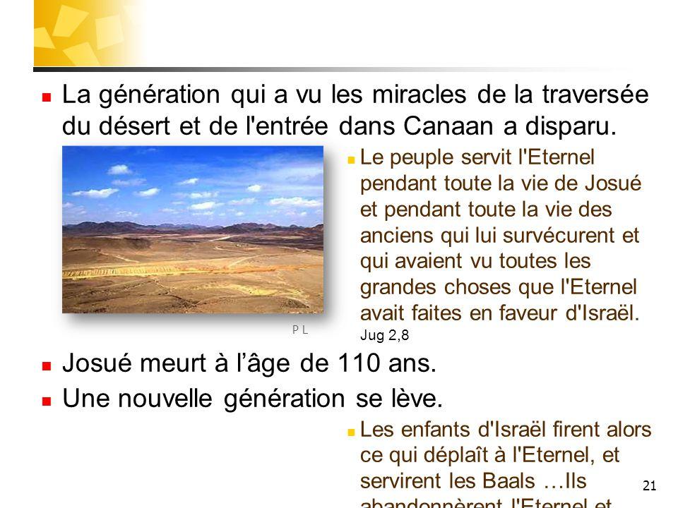 21 La génération qui a vu les miracles de la traversée du désert et de l'entrée dans Canaan a disparu. Le peuple servit l'Eternel pendant toute la vie