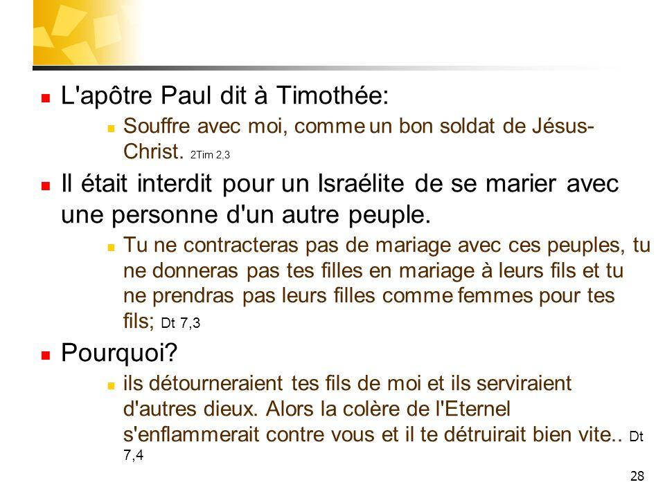 28 L'apôtre Paul dit à Timothée: Souffre avec moi, comme un bon soldat de Jésus- Christ. 2Tim 2,3 Il était interdit pour un Israélite de se marier ave