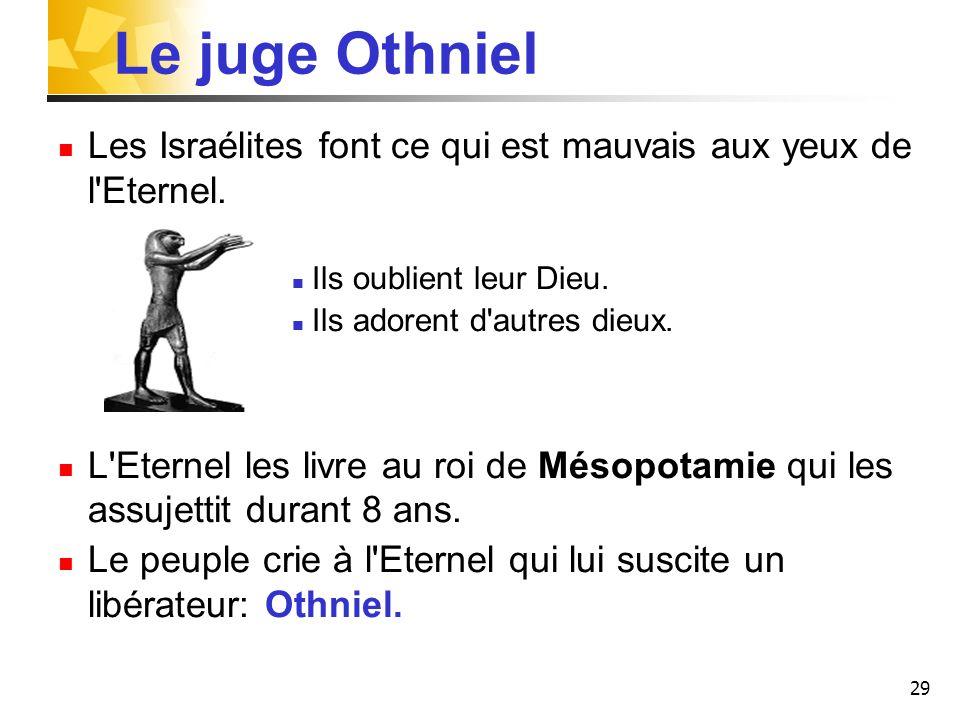 29 Le juge Othniel Les Israélites font ce qui est mauvais aux yeux de l'Eternel. Ils oublient leur Dieu. Ils adorent d'autres dieux. L'Eternel les liv