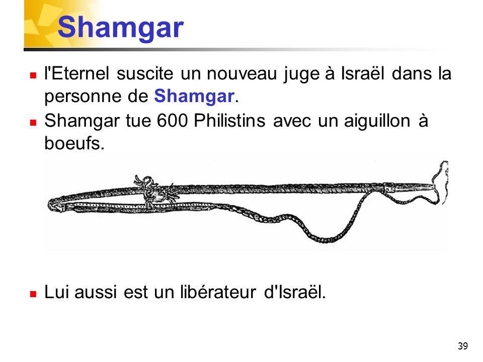 39 Shamgar l'Eternel suscite un nouveau juge à Israël dans la personne de Shamgar. Shamgar tue 600 Philistins avec un aiguillon à boeufs. Lui aussi es