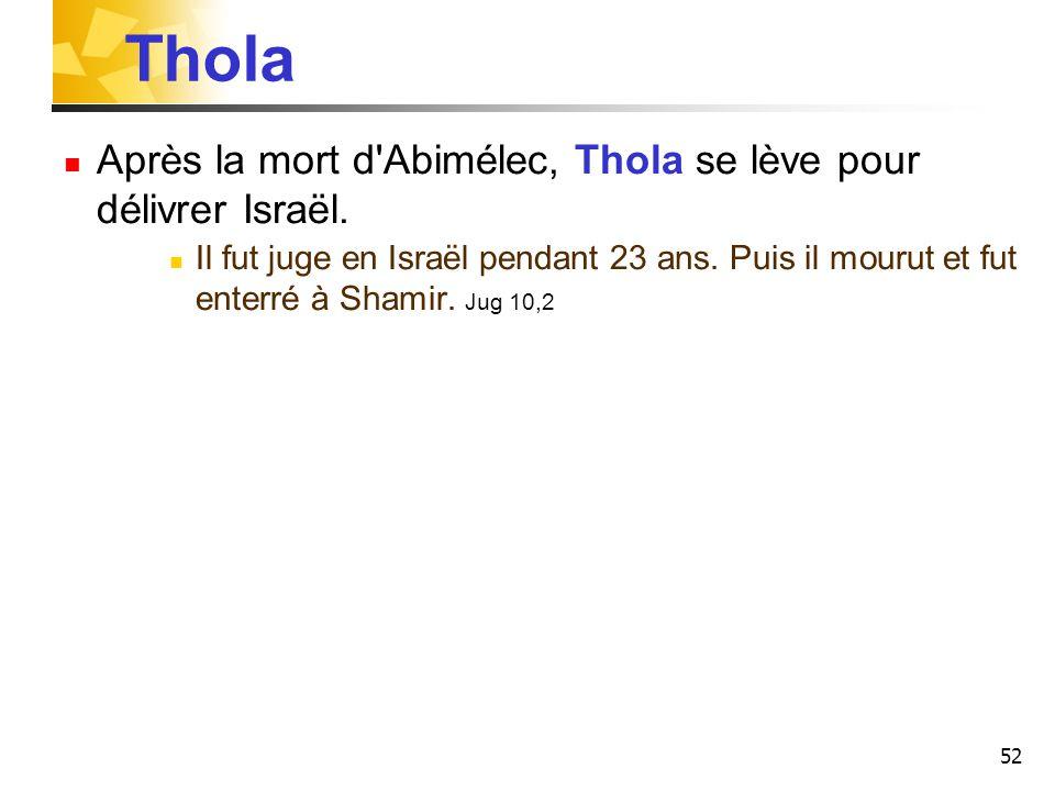 52 Thola Après la mort d'Abimélec, Thola se lève pour délivrer Israël. Il fut juge en Israël pendant 23 ans. Puis il mourut et fut enterré à Shamir. J