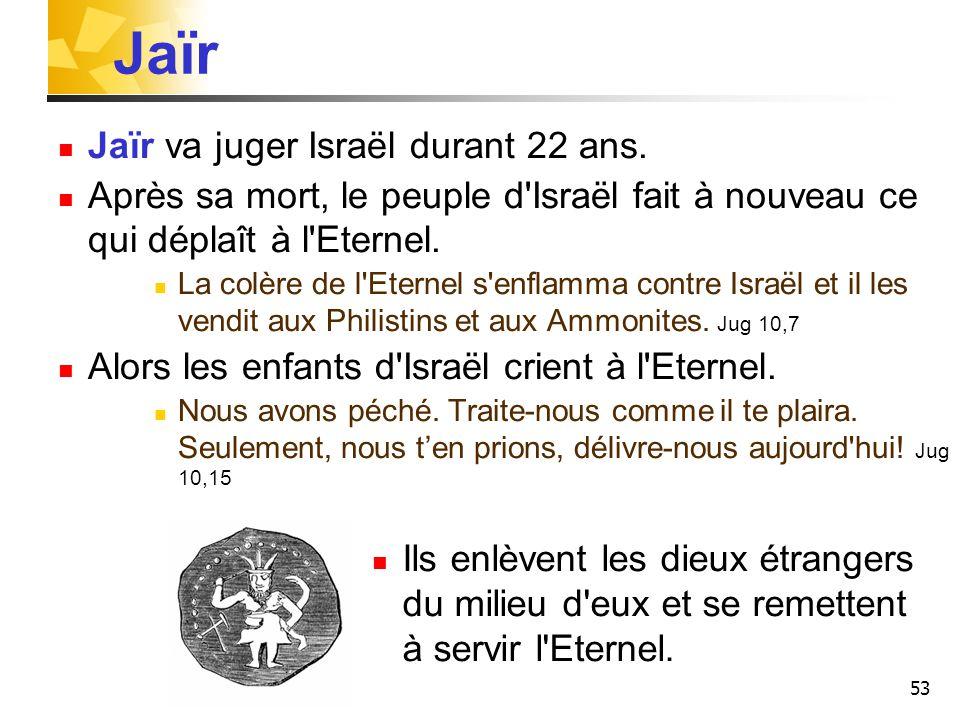 53 Jaïr Jaïr va juger Israël durant 22 ans. Après sa mort, le peuple d'Israël fait à nouveau ce qui déplaît à l'Eternel. La colère de l'Eternel s'enfl
