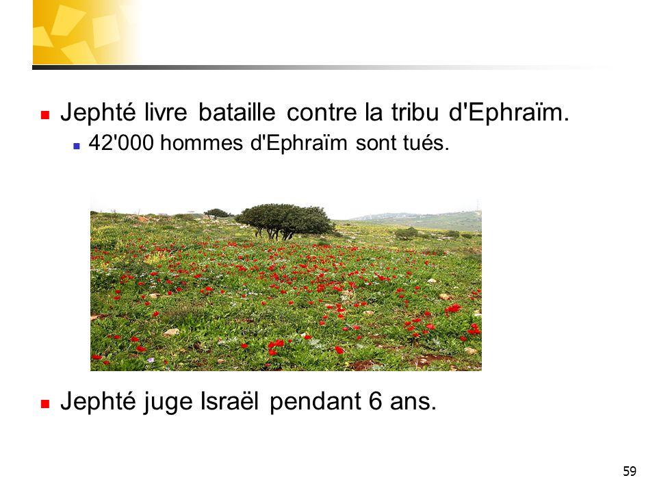 59 Jephté livre bataille contre la tribu d'Ephraïm. 42'000 hommes d'Ephraïm sont tués. Jephté juge Israël pendant 6 ans.