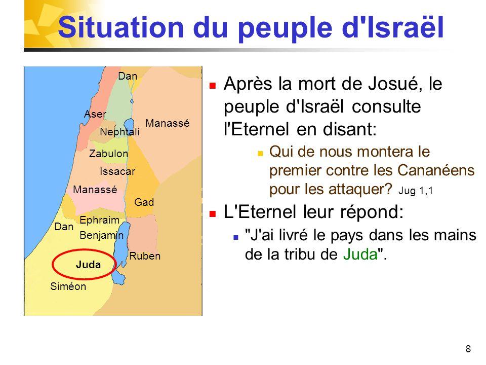 8 Situation du peuple d'Israël Après la mort de Josué, le peuple d'Israël consulte l'Eternel en disant: Qui de nous montera le premier contre les Cana