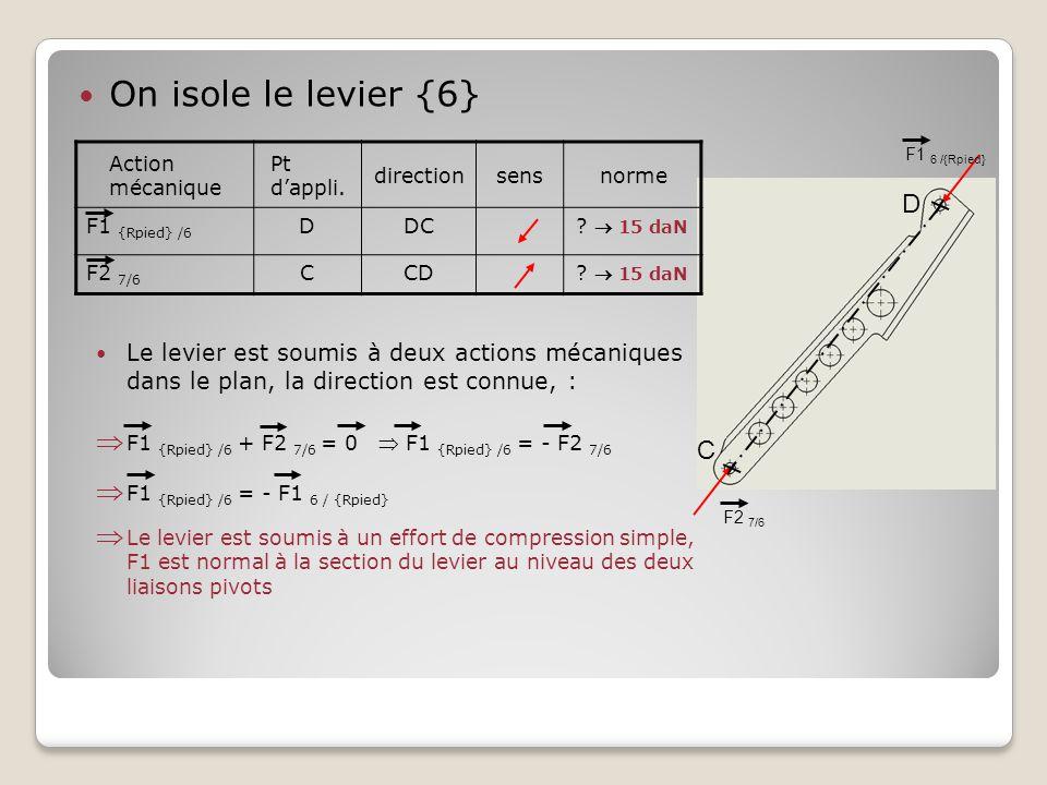 On isole le levier {6} F1 6 /{Rpied} C D Action mécanique Pt d'appli. directionsensnorme F1 {Rpied} /6 DDC?  15 daN F2 7/6 CCD?  15 daN Le levier es