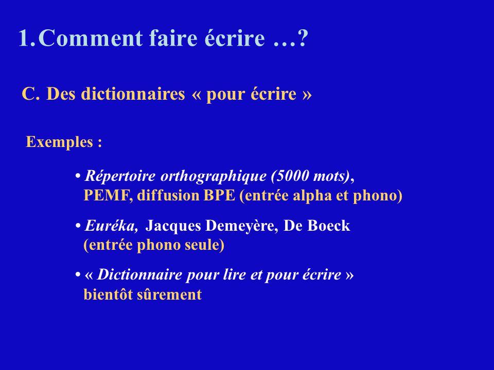 1.Comment faire écrire …? Exemples : Répertoire orthographique (5000 mots), PEMF, diffusion BPE (entrée alpha et phono) Euréka, Jacques Demeyère, De B