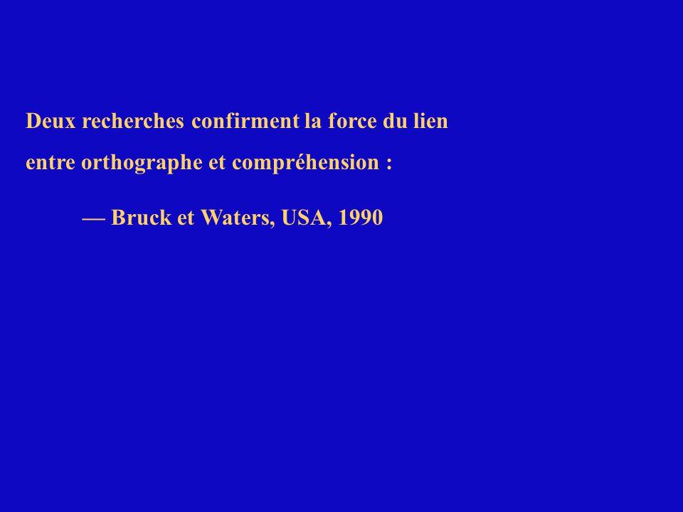 Deux recherches confirment la force du lien entre orthographe et compréhension : — Bruck et Waters, USA, 1990