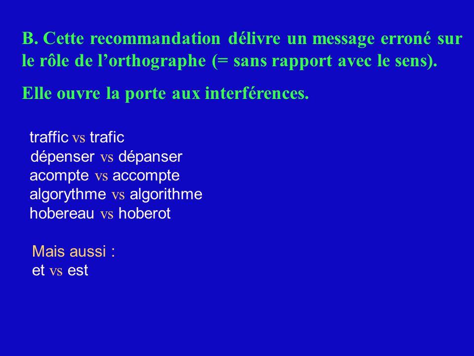 B. Cette recommandation délivre un message erroné sur le rôle de l'orthographe (= sans rapport avec le sens). Elle ouvre la porte aux interférences. t