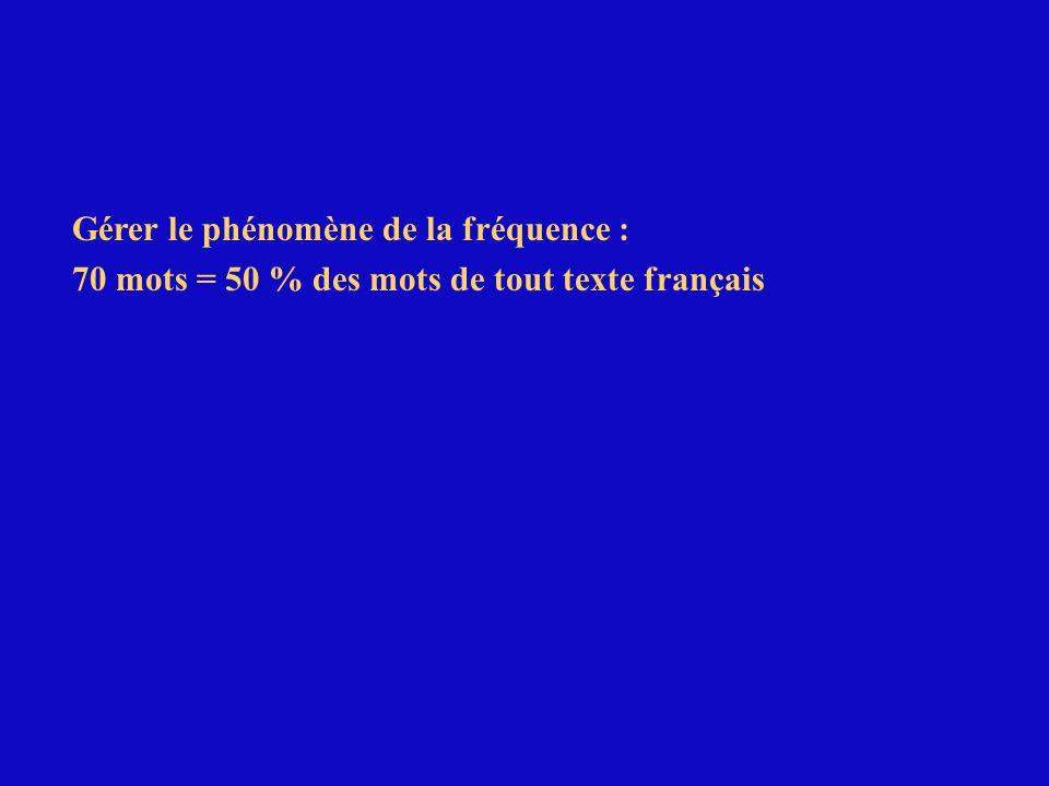 Gérer le phénomène de la fréquence : 70 mots = 50 % des mots de tout texte français