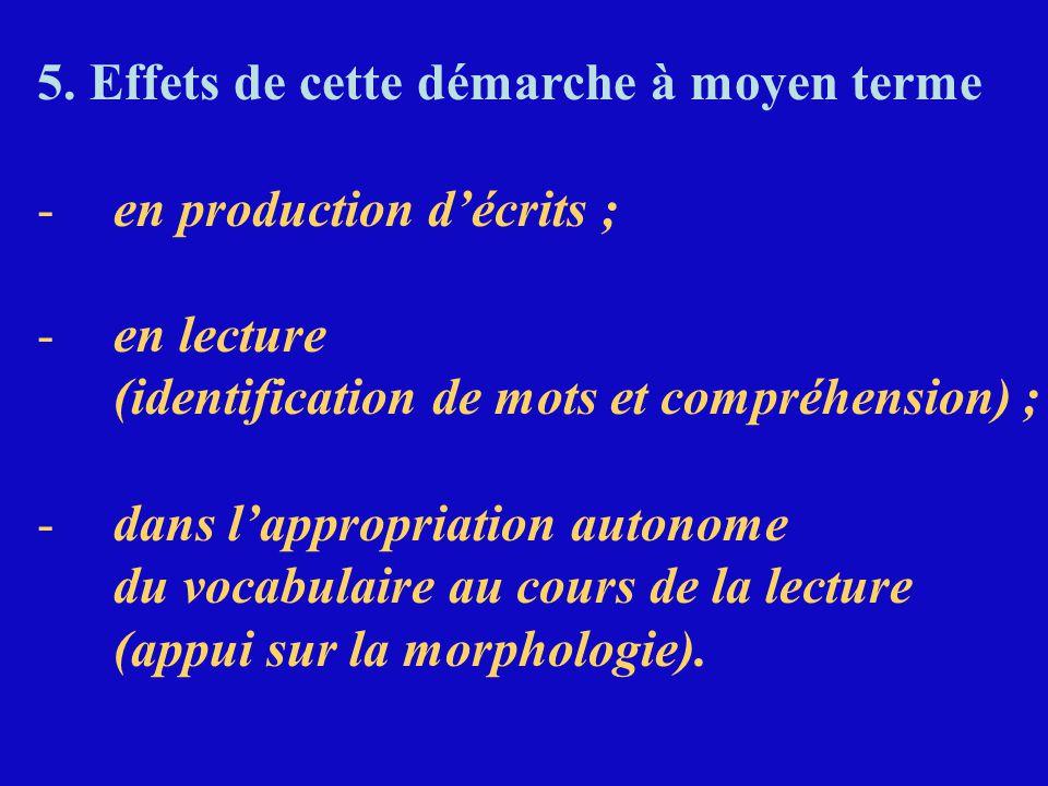5. Effets de cette démarche à moyen terme -en production d'écrits ; -en lecture (identification de mots et compréhension) ; -dans l'appropriation auto