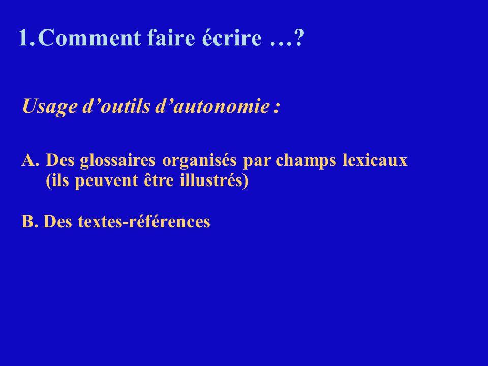 1.Comment faire écrire …? Usage d'outils d'autonomie : A.Des glossaires organisés par champs lexicaux (ils peuvent être illustrés) B. Des textes-référ