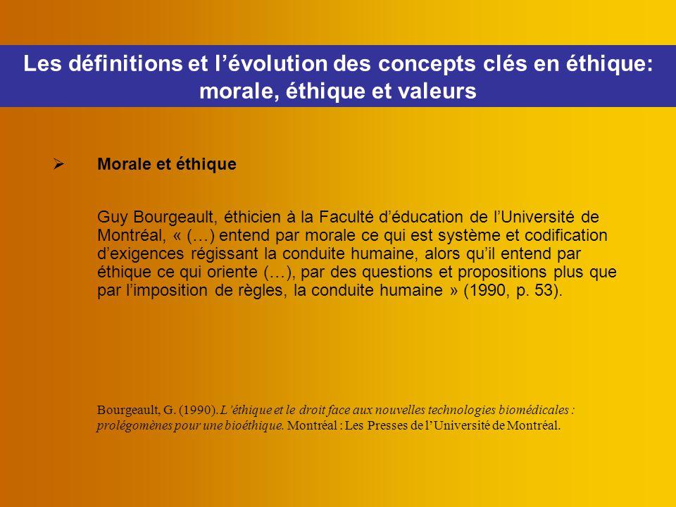 Les définitions et l'évolution des concepts clés en éthique: morale, éthique et valeurs  Morale et éthique Guy Bourgeault, éthicien à la Faculté d'éd
