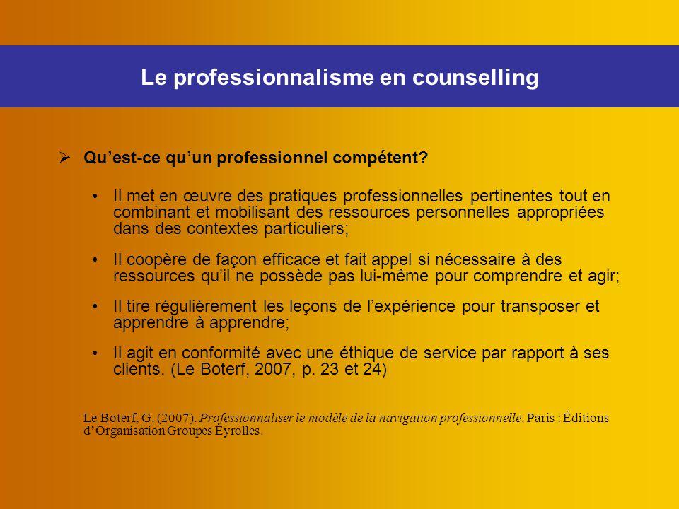 Le professionnalisme en counselling  Qu'est-ce qu'un professionnel compétent? Il met en œuvre des pratiques professionnelles pertinentes tout en comb