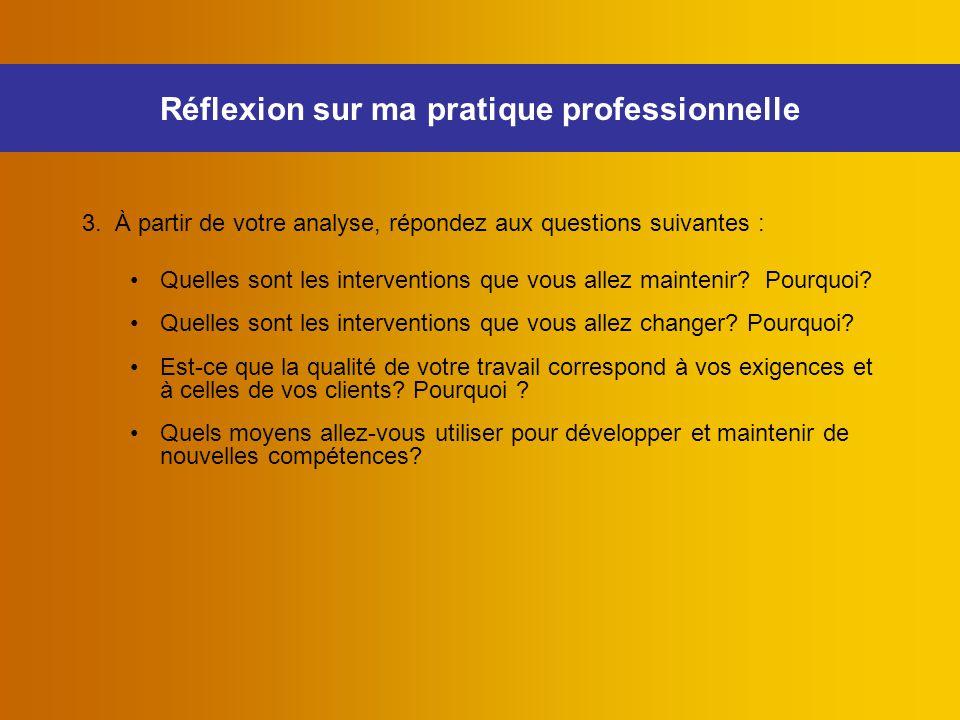 3. À partir de votre analyse, répondez aux questions suivantes : Quelles sont les interventions que vous allez maintenir? Pourquoi? Quelles sont les i