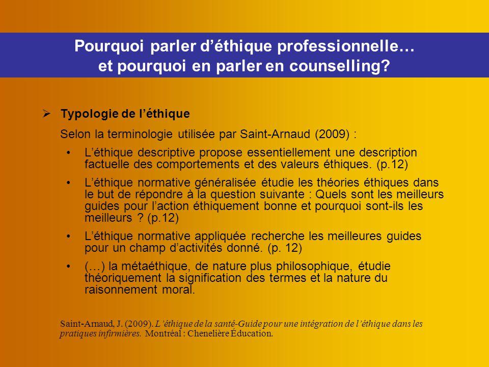  Typologie de l'éthique Selon la terminologie utilisée par Saint-Arnaud (2009) : L'éthique descriptive propose essentiellement une description factue